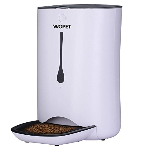 WOpet 7L Automatic Pet Feeder Food Dispenser for Cats and Dogs-Features: Distribution Alarms, Portion Control, Voice Recorder, Programmable Timer for up to 4 Meals per -