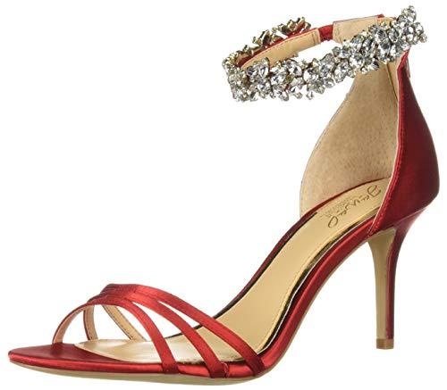 Jewel Badgley Mischka Women's ZAMORA Sandal, red satin, 7 M US