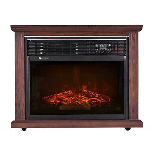 "Giantex 28"" Free Standing Electric Fireplace 1500W Glass View Log Flame Remote Home Space Heater Giantex Infrared Heaters"