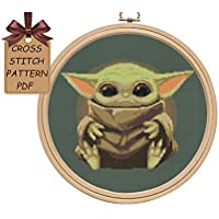 Baby Yoda cross stitch patterns PDF, modern counted disney cute cross stitch pattern design, simple easy cross stitch chart for beginners, home wall decor DIY. MATERIALS ARE NOT INCLUDED!
