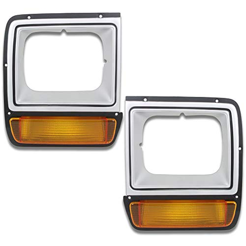 (Make Auto Parts Manufacturing Set of 2 Driver & Passenger Side Painted Silver & Black Headlamp Headlight Door Bezel w/Amber Parking Light For Dodge D/W Series 1986-1990 - CH2512122-CH2513122 )