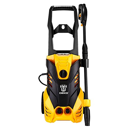 DEKO Electric Power Pressure Washer 2030 PSI 1.7 GPM with Power Hose Nozzle Gun, Integrated Hose Reel,Built in Foam Dispenser (Reel Power Mower)