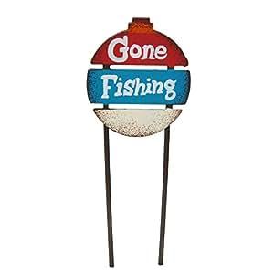 Miniatura Jardín de hadas Gone Fishing Sign