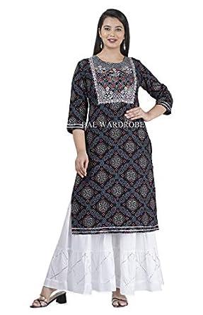Bae's Wardrobe Rayon Straight Kurti with White Sharara Plazzo for Women & Girls Dress