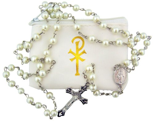 Catholic Girls 6MM White Simulated Imitation Pearl Bead First Communion Rosary with Chi Rho Case, 20 Inch