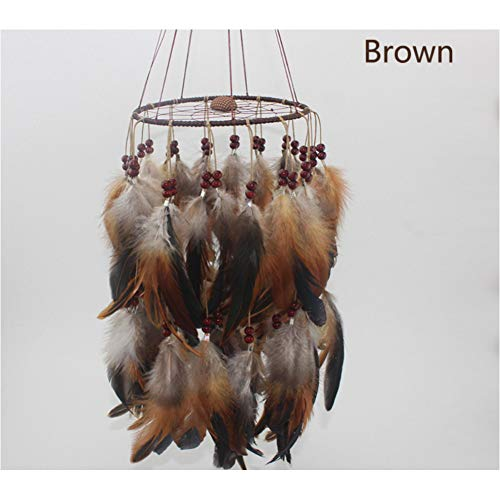 MXJJSPD Dream Catcher,Handmade Weaving Vintage Lantern Brown Bohemian Dream Catcher Feathers Wind Chime Wall Hanging Vintage Craft for Car Pendant Bedroom Home Decoration