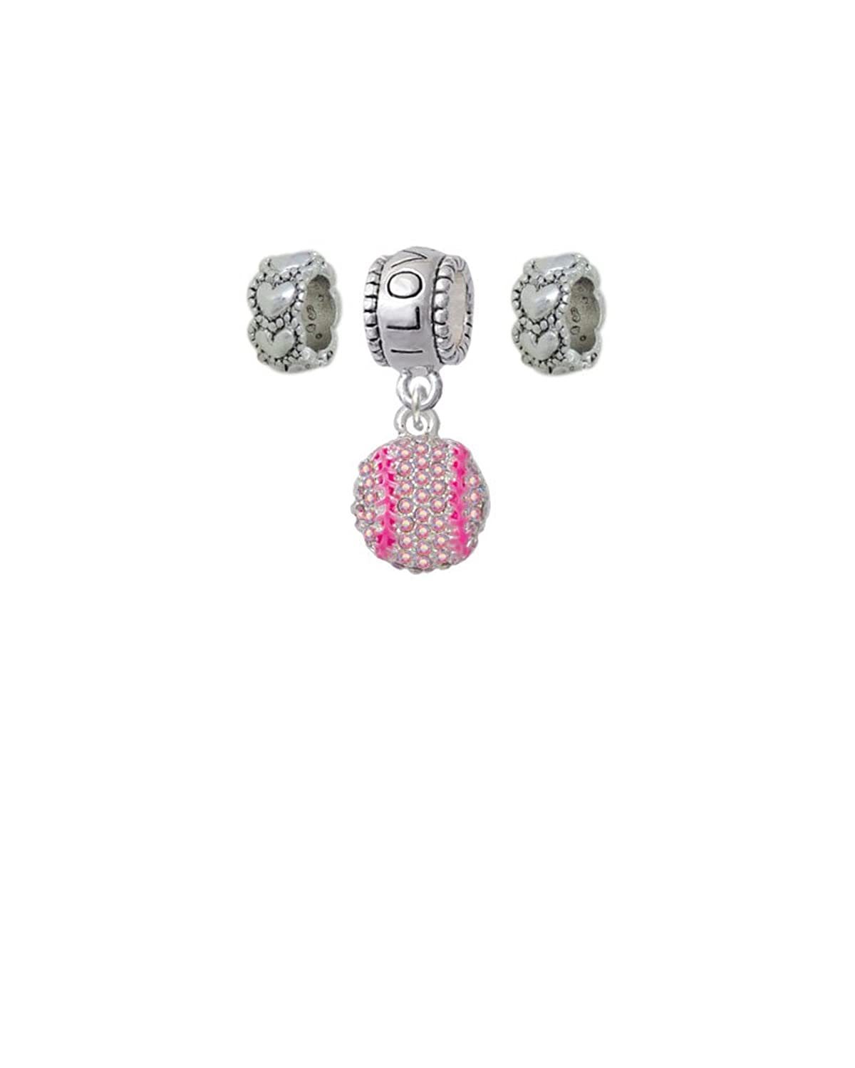 Small Sparkle Crystal Softball I Love You Charm Hanger with Mini Heart Beads (Set of 3)