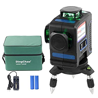 DINGCHAO Multipurpose Self Leveling 360 Green Laser Level,3 x 360 Line Laser Alignment Level Tool,Three Plane Multi-functional Construction Level Outdoor Leveling Instrument