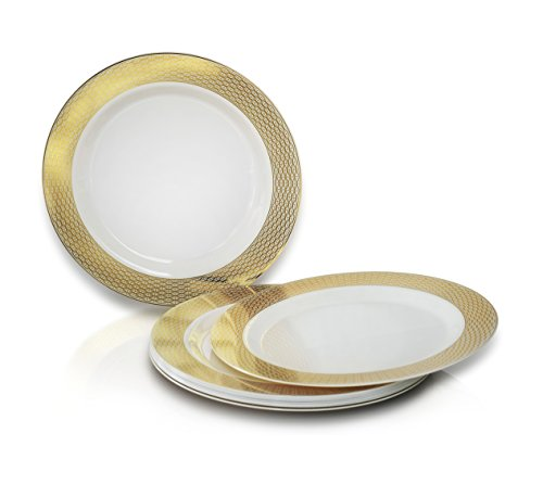 OCCASIONS 120 PACK Heavyweight Disposable Wedding Party Plastic Plates (6u0027u0027 Dessert/Bread Plate Diamond White/Gold)  sc 1 st  Plate Dish. & Elegant Plastic Plates Wholesale. OCCASIONS 120 PACK Heavyweight ...