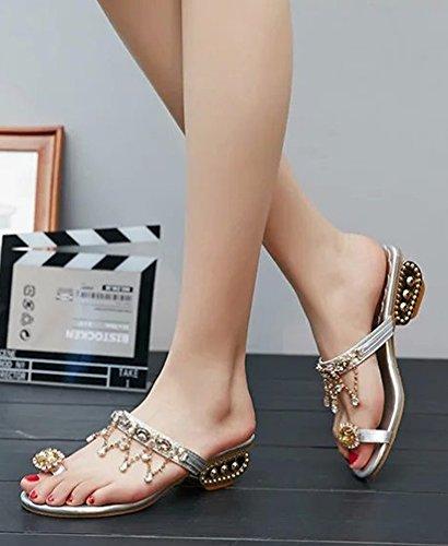 Diamantes Mujer Minetom Plateado Verano Sandalias Chanclas Borla Zapatos Planos Bohemia Granos Elegante Los De Imitación Playa BTIwIdq