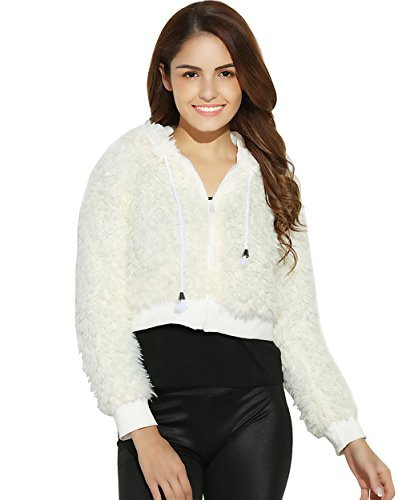 Zip Front Cropped Jacket - ZAFUL Women's Faux Lamb Wool Cropped Hoodie Jacket with Front Zip for Fall/Winter (XL)