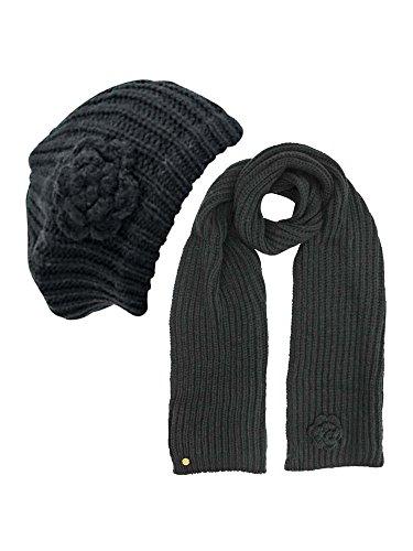 Black Feminine Rosette Knit Beret Hat & Scarf ()
