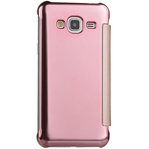 WeLoveCase Funda Tapa Samsung S6 Espejo Carcasas Galaxy S6 Rígido Fundas Moviles PC Dura Cubierta Protección Flip Cover Folio Case Resistente Piel Funda de Cuero para Samsung Galaxy S6 Oro Rosa Rosa