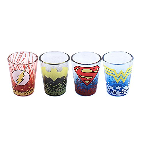 (Silver Buffalo DC031SG3 DC Comics Character Ombre Logo Fade Mini Glass Set, 4-Pack)
