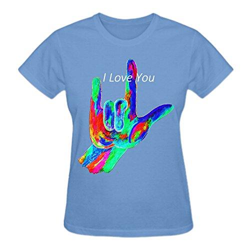 Asl I Love You On Black Women's O-Neck ComfortSoft T Shirt Blue