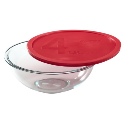 Pyrex Smart Essentials 4-Quart Glass Mixing Bowl (Clear Bowl With Pyrex Cover)