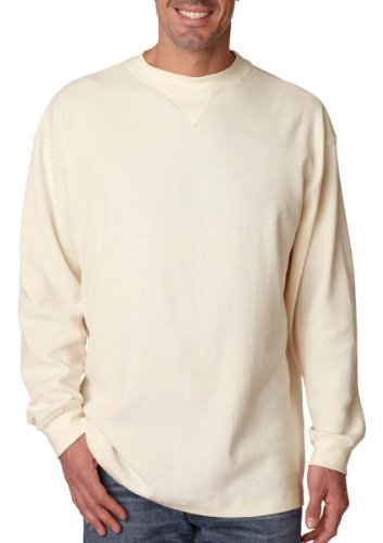 (UltraClub Men's Soft Breathable Knit Mini Thermal Sweatshirt, Small, Off White)