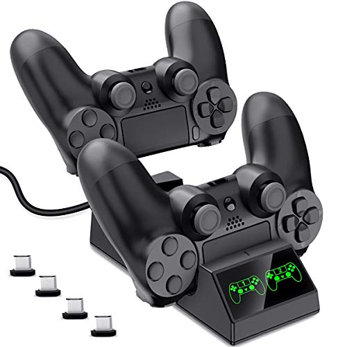 (DinoFire PS4 Controller Charger, PS4 Charging Station for Controller DualShock USB Fast Charging Dock for Sony Playstation4 / PS4 Slim / PS4 Pro Controller with 4 Micro USB Charging Dongles)