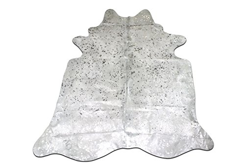 offwhite cowhide rug with silver metallic devore Size: 7 X 6.7' feet by cowhidesusa
