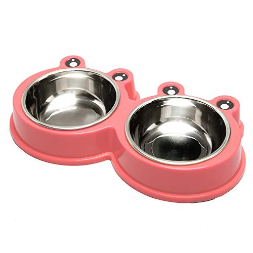 AIFEIERH Durable Stainless Steel Dog Bowl Food Water Feeder Non-Slip Design Resistant Silicone Mat Non Slip Design Prevent Slipping for Little Size Dogs/Cats Like Chihuahua/Bulldog/Poodle and More