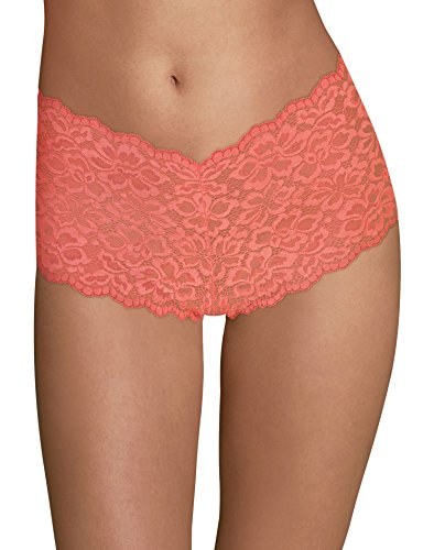 Maidenform Women's Sexy Must Haves Lace Cheeky Boyshort, Coral Punch, 7