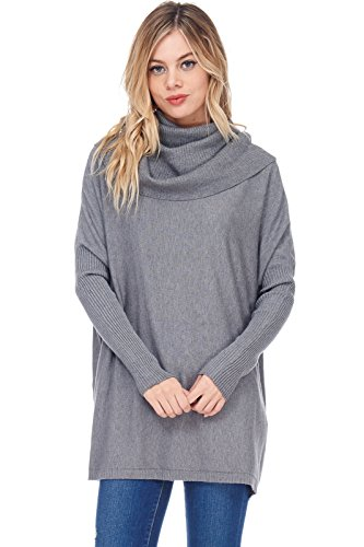 Alexander + David A+D Womens Casual Oversized Cowl Pullover Sweater W Rib Sleeves (Charcoal, Medium/Large)