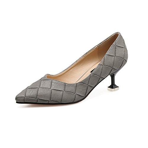Shoes Los Mujeres Alto Tacón Gris Puntiagudo Alto GAOLIM De De Tacón Heel Con 8Cm Zapatos Zapatos 6 Delgado Muelle De Un Único Solo Zapato Luz w14Pxf1d