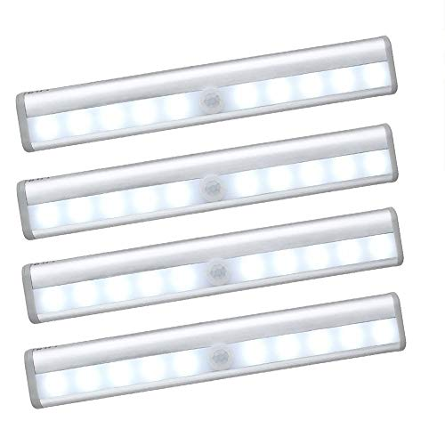 ACELIST Pack of 4 Rechargeable 10-LED Wireless Motion Sensing Closet Cabinet LED Night Light/Stairs Light/Step Light Bar for Bedroom, Corridor, Workshop, Basement, Garage, Stairwell, Door, Entrances