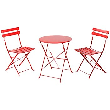 this item grand patio outdoor balcony folding steel bistro furniture sets foldable table and chairs red - Bistro Chairs