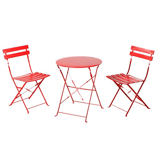 Grand Patio Outdoor Balcony Folding Steel Bistro Furniture Sets Foldable Table And Chairs Red