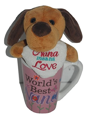 Brown Mother's Day Gift Basket Bundle For Mom Set Plush Puppy w/ Moon and Back Mug