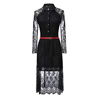 Coumll Lace Stitching Hollow Out Summer Dress Fashion Slim O-Neck Sexy Vestidos Elegant Evening