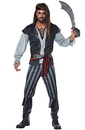 California Costumes Men's Size Scallywag Pirate Adult Man Plus Costume, Black/Gray]()