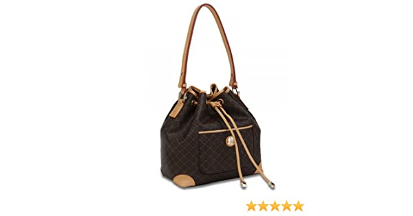 Amazon.com  Rioni Signature Brown Shoulder Drawstring Bag by Rioni Designer  Handbags   Luggage  ID You   Co. ee44a2649e