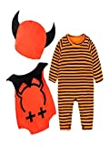 BHYDRY Halloween Newborn Infant Baby Boy Clothes Striped Monster Romper Outfits Costume Set(UK-12M/CN-90,Orange)