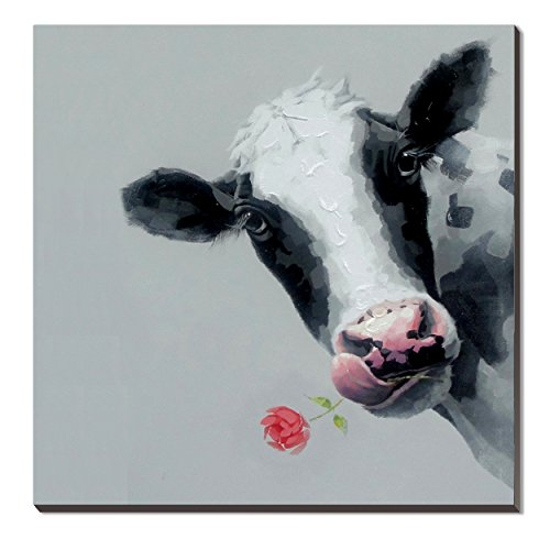 3Hdeko-Cow Picture Funny Animal Head Canvas Artwork Farm Wall Art Hand Painted Cattle Oil Painting Large Modern Wall Decoration for Home Living Room Bedroom Teen Room Office, Stretched- Ready to Hang by 3Hdeko
