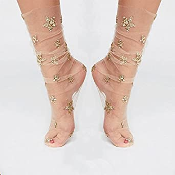 Women Glitter Star Mesh Socks - Trendy Girls Transparent Elastic Sheer Ankle Sock
