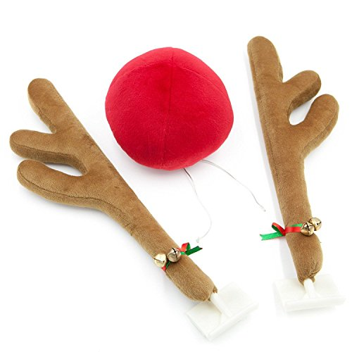 Christmas Reindeer Antlers and Red Nose for Car Truck SUV Kit Rudolph Deer Christmas Car Window Decoration Holiday Ornament by Deals to ()