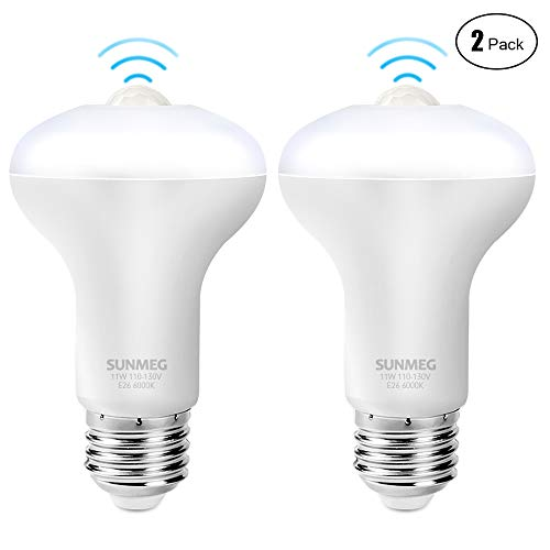 SUNMEG Motion Sensor Light Bulb, 11W Automatic LED Motion Sensor Light Bulb, Duration 90 Seconds, E26 Base Dusk to Dawn Night Light, 1050LM Cold White 6000K for Outdoor/Indoor, 2 Pack