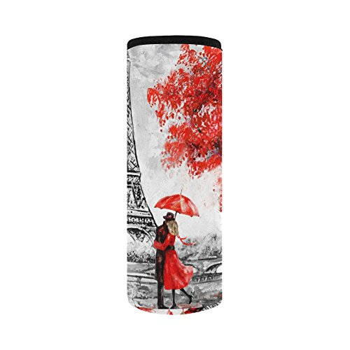 InterestPrint Eiffel Tower Lover Neoprene Water Bottle Sleeve Insulated Holder Bag 16.90oz-21.12oz, Paris Oil Painting Sport Outdoor Protable Cooler Carrier Case Pouch Cover with Handle by InterestPrint (Image #1)