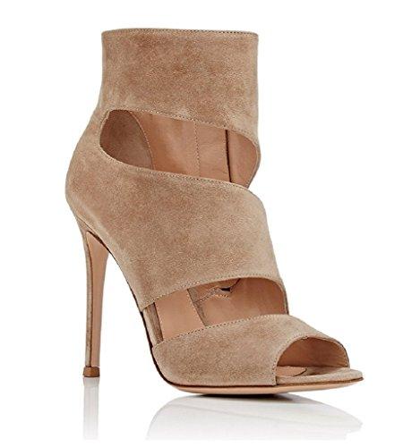 Kolnoo Damen Open Toe Bootie Wildleder Sandale Stiefeletten Stiletto Cut Out Zip Schuhe Beige