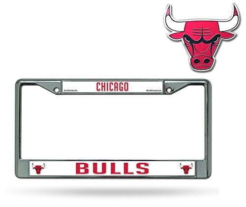 Official NBA Shop Authentic Chrome License Plate Frame and Matching Colored Auto Emblem (Chicago Bulls) by Rico Industries