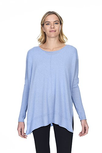State Cashmere Women's 100% Pure Cashmere Round-Neck Back Oversize Pullover Sweater