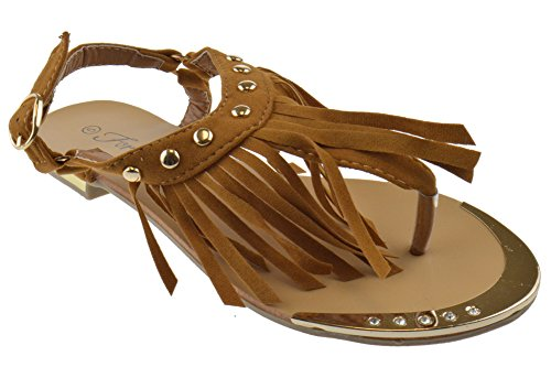 Womens Studded Gladiator Design (Foever Tyler 27 Womens Metallic Fringe Studded Gladiator Flat Sandals Tan 10)