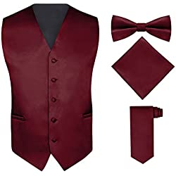 Men's 4 Piece Vest Set, with Bow Tie, Neck Tie & Pocket Hankie - Burgundy, L