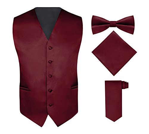Men's 4 Piece Vest Set, with Bow Tie, Neck Tie & Pocket Hankie - Burgundy, (Tie Pocket Hankie Set)