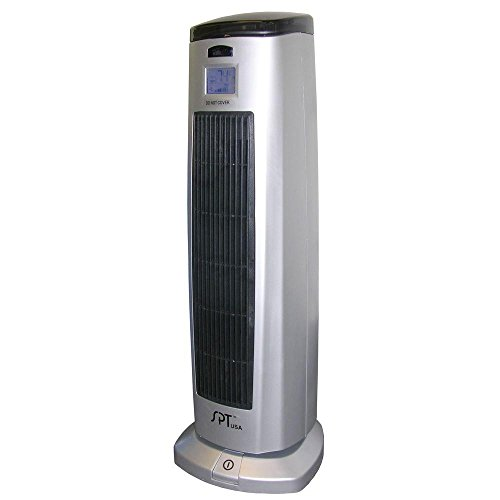 Tower Heater Ceramic with Digital Thermostat, Built-In Air Filter and Ionizer, Silver Ceramic Heaters SPT_SH-1508