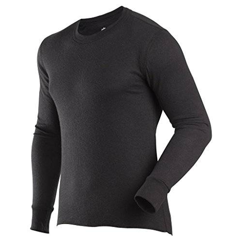 ColdPruf Men's Basic Dual Layer Long Sleeve Crew Neck Base Layer Top, Black, Medium