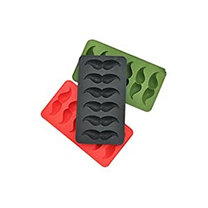 Riverbyland Moustache Shape Silicone Ice Cube Trays Assorted Colors Set of 3