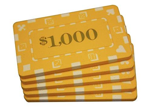 5 Pcs Denominated Rectangular Poker Chips Plaques $1000 Yellow